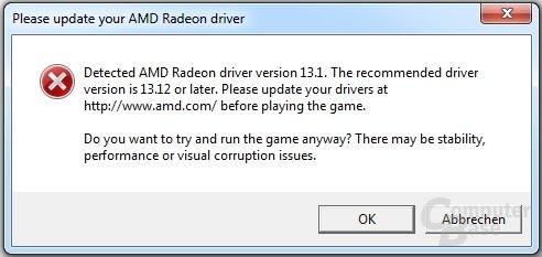 Zu alte Treiber in Battlefield 4 (AMD)