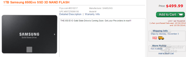 US-Händler listet 850 Evo SSD