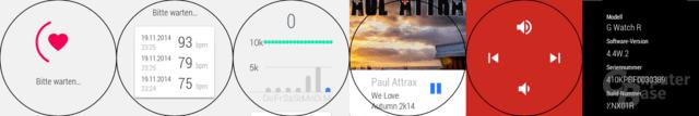 LG G Watch R – Herzfrequenz, Schrittzähler, Musik-Player, Systeminfo