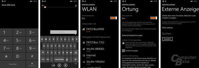 Telefon, Tastatur, WLAN, Ortung, Miracast