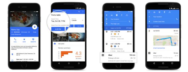 Tischreservierungen und Uber-Integration für Google Maps