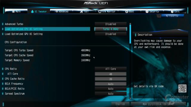 Auswahlmöglichkeiten in ASRocks BIOS