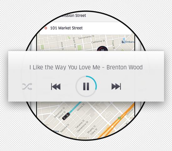 Uber – Oberfläche zur Steuerung der Musik