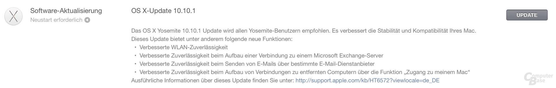 OS X Yosemite Update auf 10.10.1