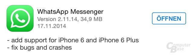 WhatsApp wurde an das iPhone 6 (Plus) angepasst