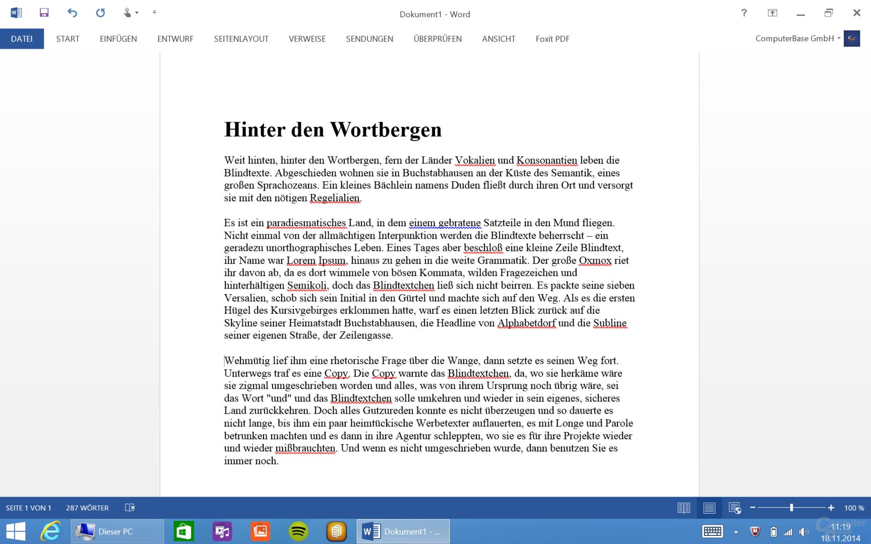 MS Word auf dem Acer Aspire Switch 10 FHD