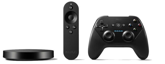 Nexus Player mit Fernbedienung und Gamepad