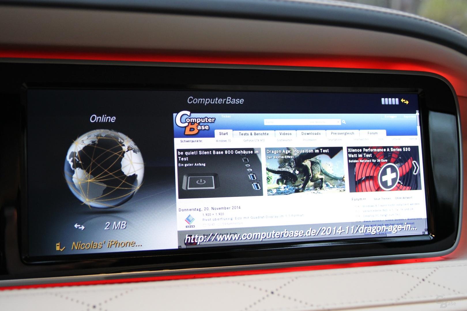 Darstellung einer Webseite im integrierten Browser