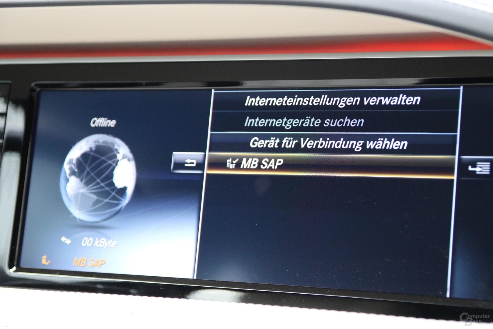 Aufbau der Internetverbindung über das Telefon-Modul mit SAP