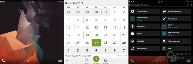 Homescreen|Kalender|Schnellzugriffe