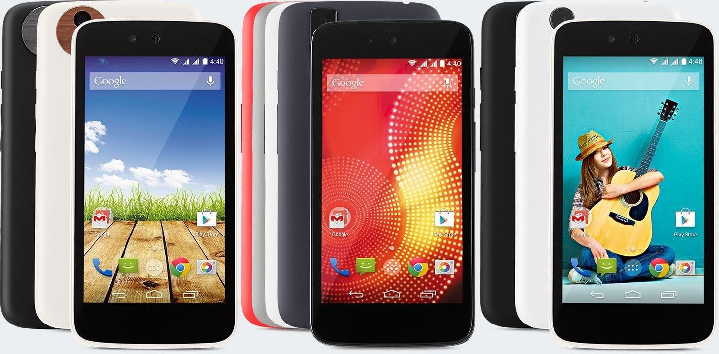 Die drei Android-One-Smartphone. Mitte: Karbonn Sparkle V