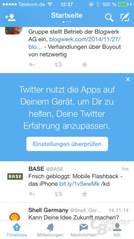 Hinweis in der Twitter-App zur neuen Funktion