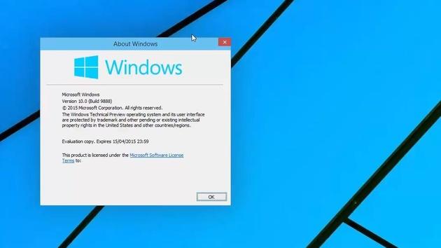 Windows 10 Technical Preview: Build 9888 meldet sich als Windows 10.0