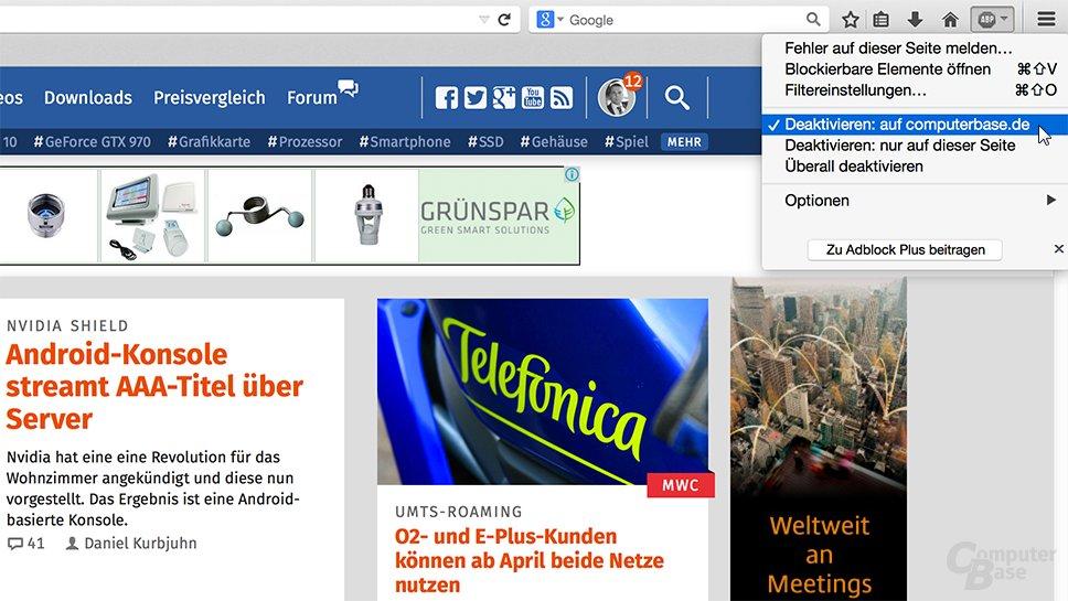 Deaktivieren von AdBlock auf ComputerBase in Firefox