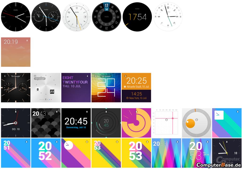Motorla Moto 360, Samsung Gear Live, LG G Watch – Ziffernblätter