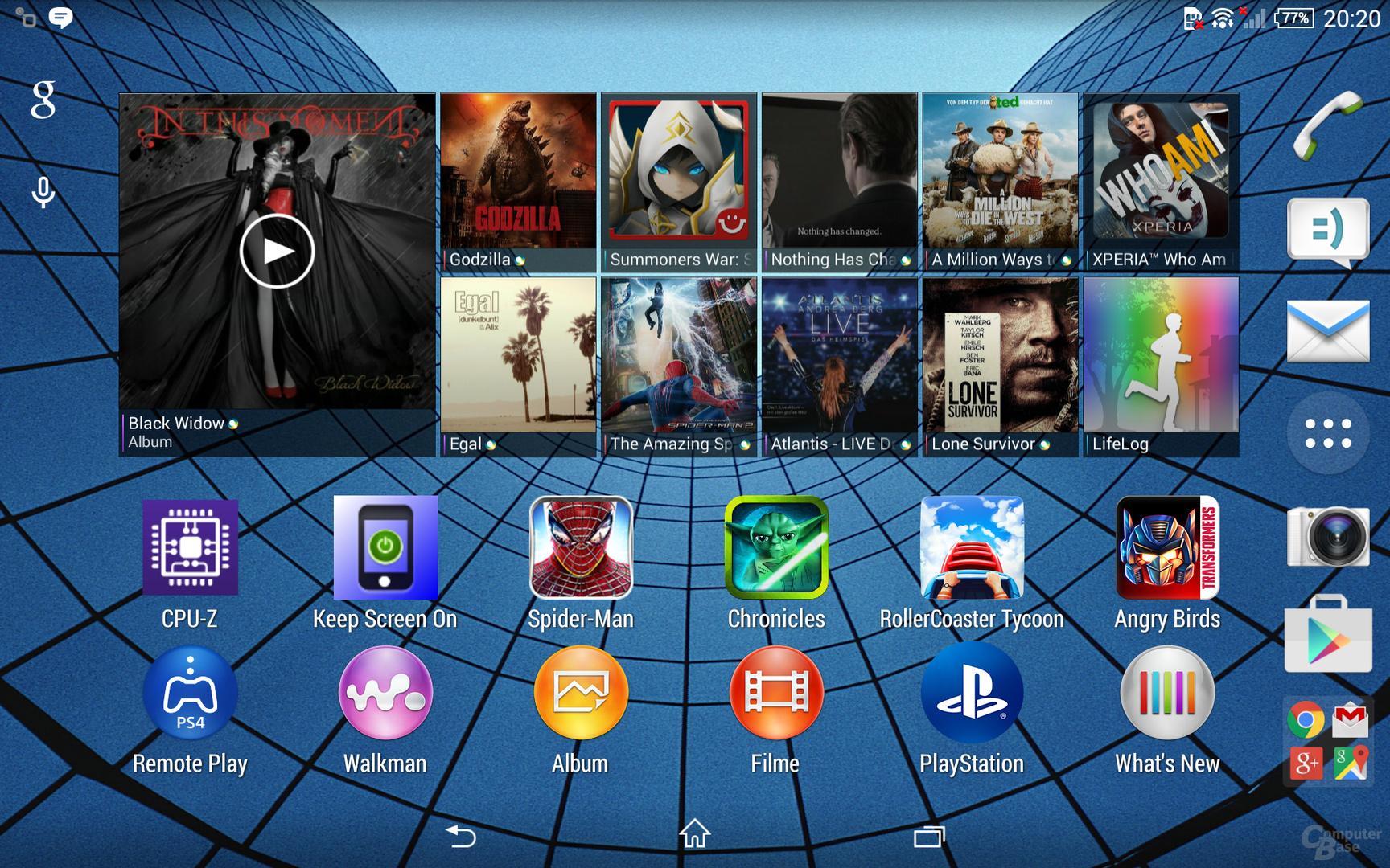 Sonys Oberfläche