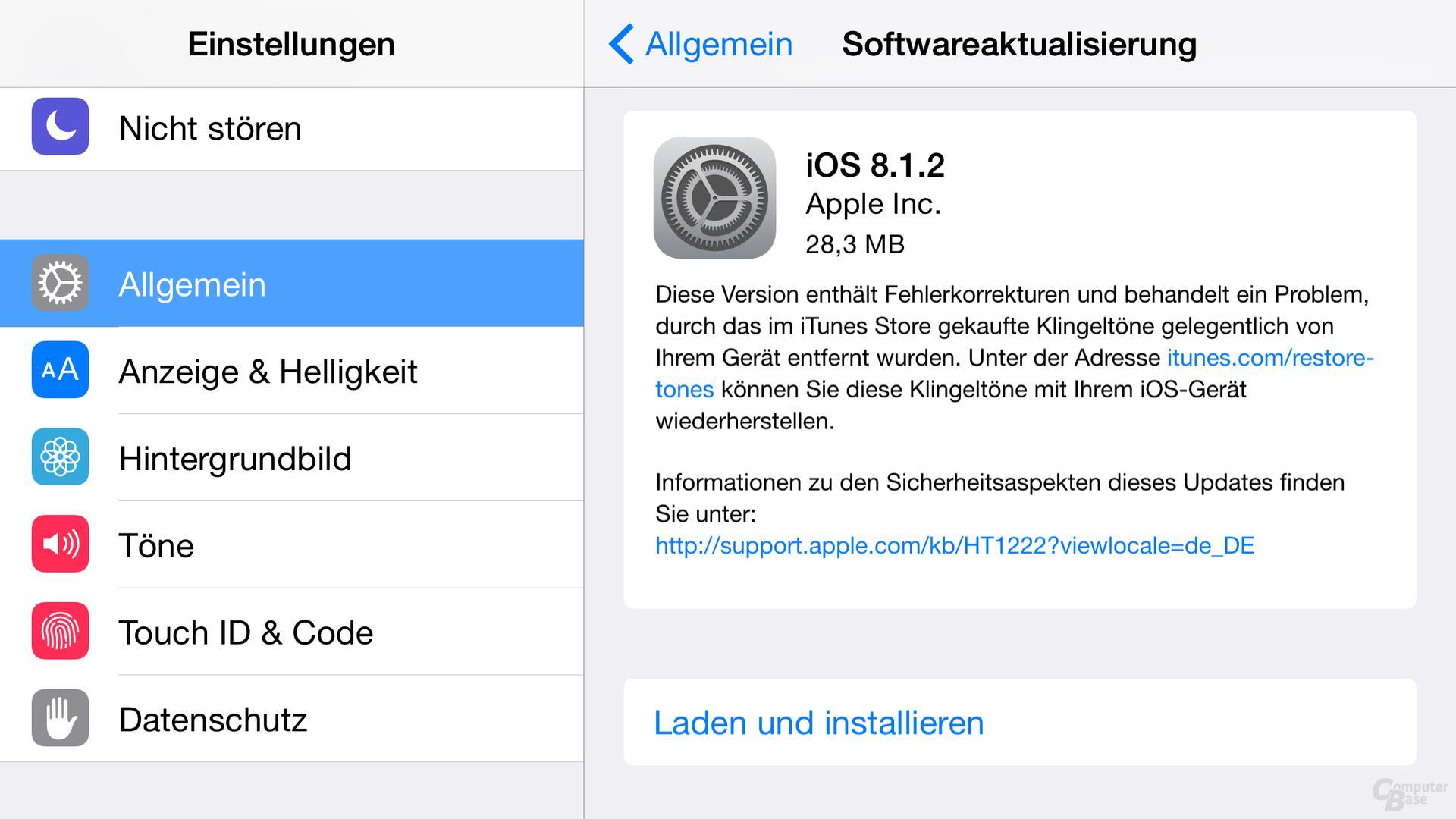 iOS 8.1.2 stellt Klingeltöne wieder her