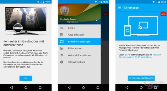 Chromecast-App mit Gastmodus und Bildschirm übertragen