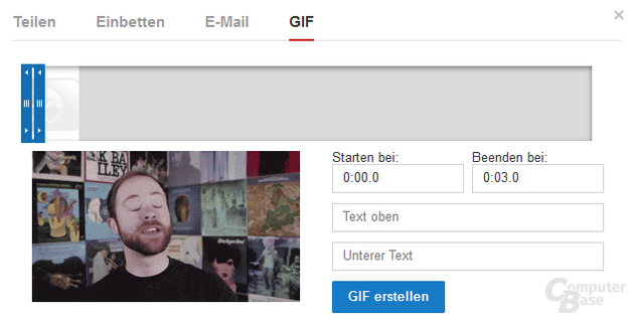 """Unter dem """"Teilen""""-Menü ist die GIF-Funktion zu finden"""