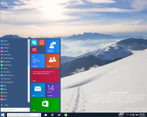 Cortana mit eigener Suchleiste in der Taskbar