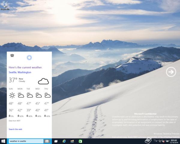 Cortana wird über dieselben Funktionen verfügen wie unter Windows Phone