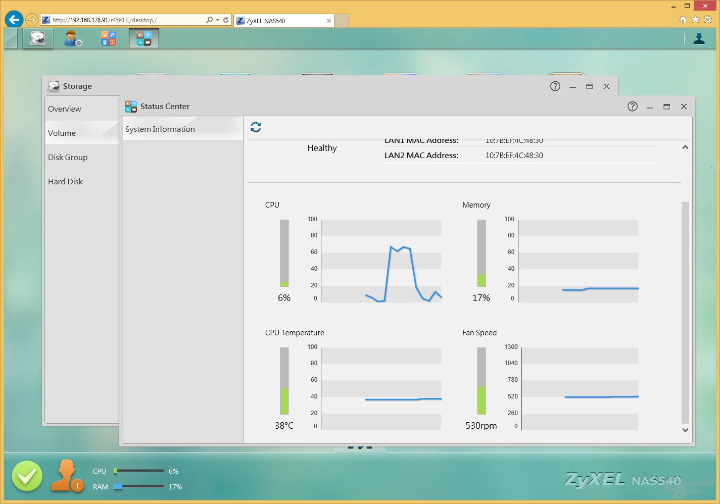 ZyXEL NAS540 – Benutzeroberfläche