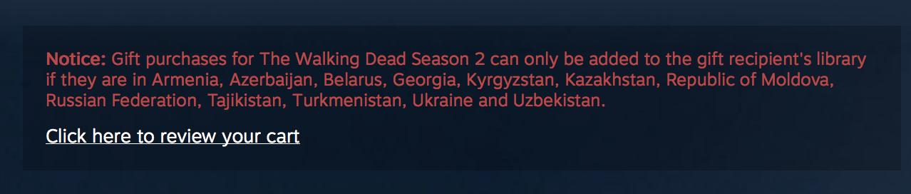 Hinweise in der Beschreibung des Spiels nennen die Beschränkung