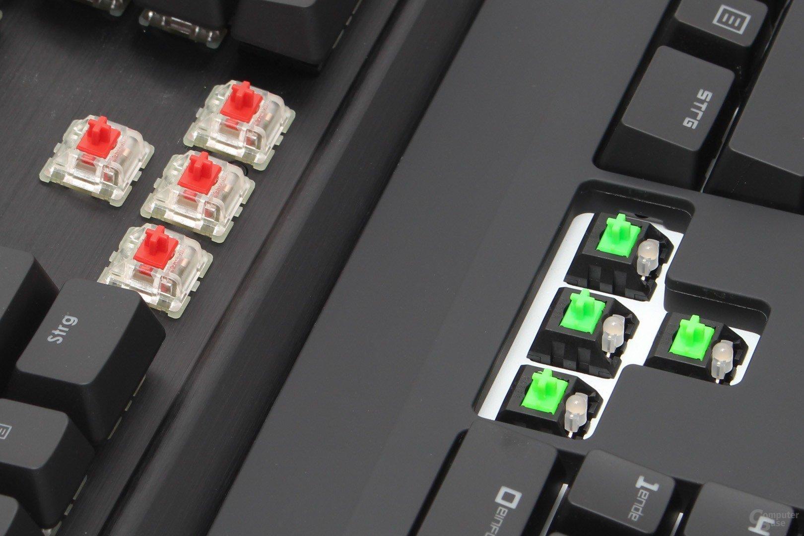 Unterschiedliche Konzepte: Cherry MX RGB (links) und Razer Green RGB (rechts)