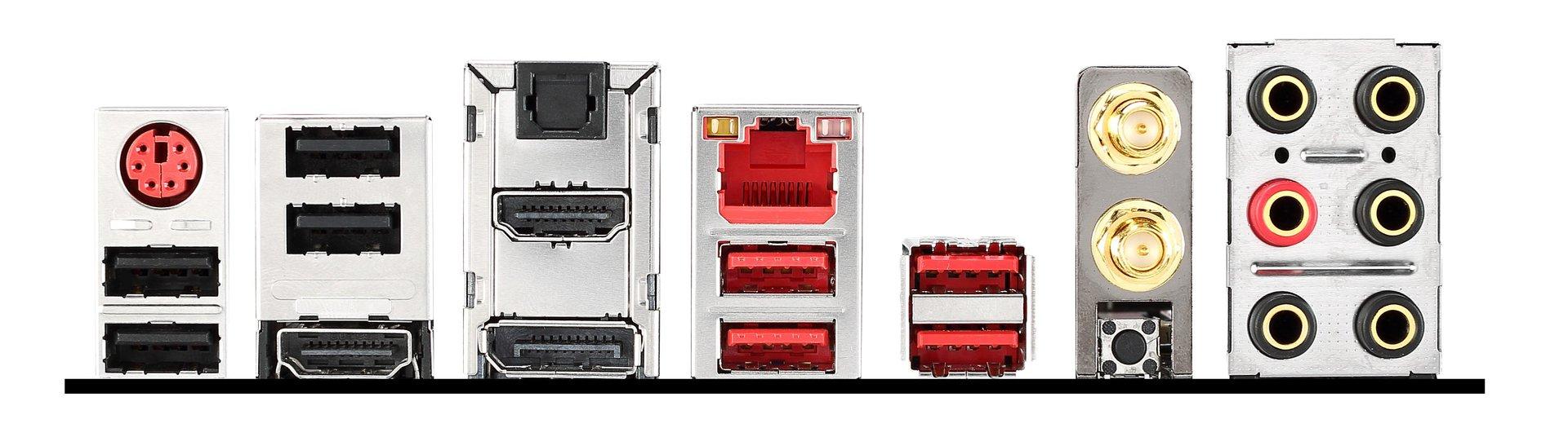 MSI Z97I Gaming ACK – das I/O-Panel mit Anschlüssen
