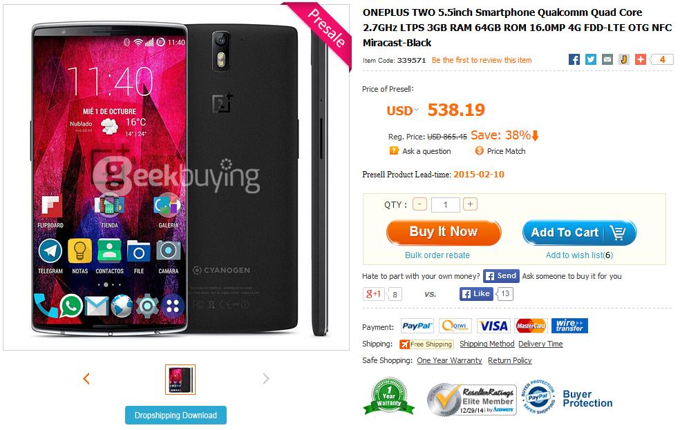 Angebliches OnePlus 2 in chinesischem Shop