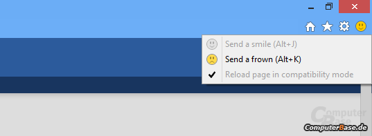 Feedback-Funktion im neuen Internet Explorer