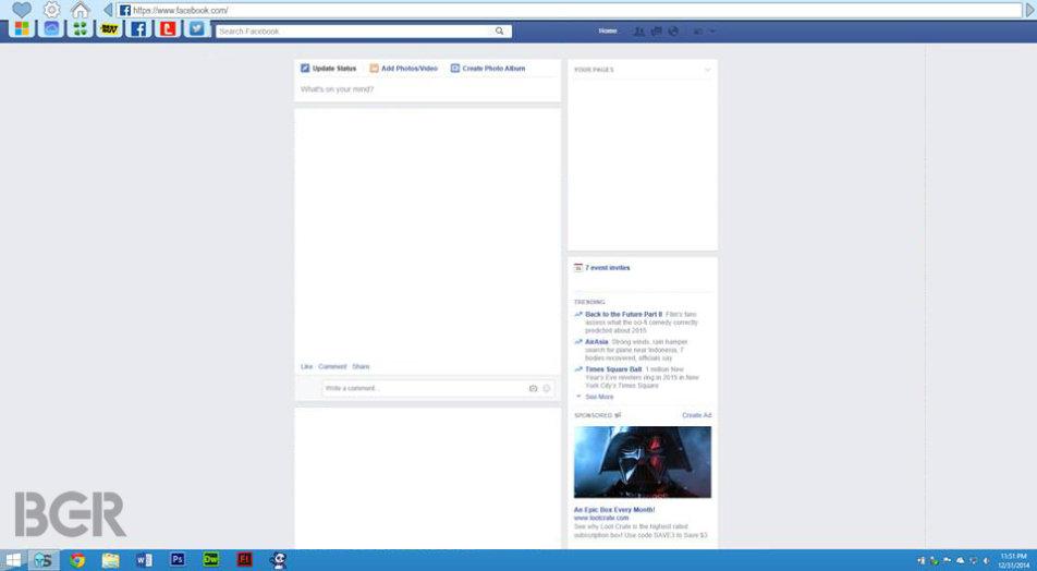 Screenshot einer Entwicklerversion aus dem November, wohl unecht