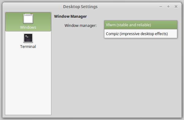 Auswahl der Fenster Manager