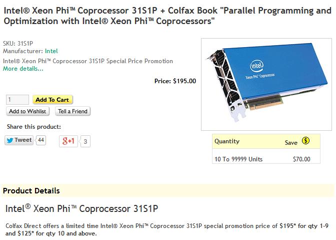 Intel Xeon Phi 31S1P für 195 respektive 125 US-Dollar (ab 10 Stück)