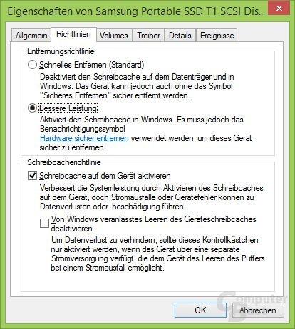 Windows Schreibcache an