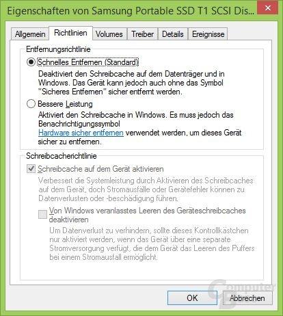 Windows Schreibcache aus (Standard)