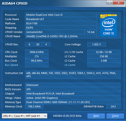 Intel Core i5-5200U im maximalen Turbo