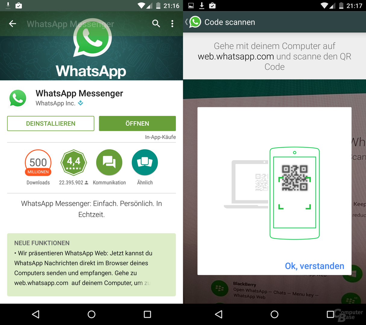 WhatsApp 2.11.498 unter Android