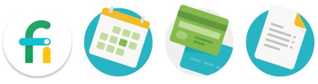 Logo von Project Fi und Schaltflächen aus der App
