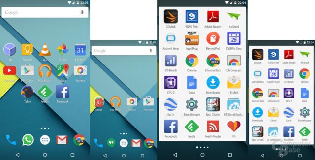 Der Android-Homescreen hat zwar mehr Platz, aber noch immer kein Querformat