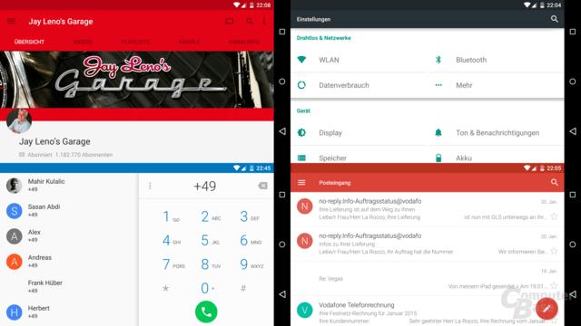 Viele Apps bieten im Querformat mehr, wichtige wie Gmail aber nicht