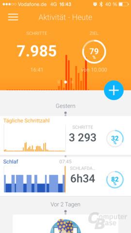Withings App – Hauptbildschirm