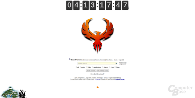 Webseite von The Pirate Bay