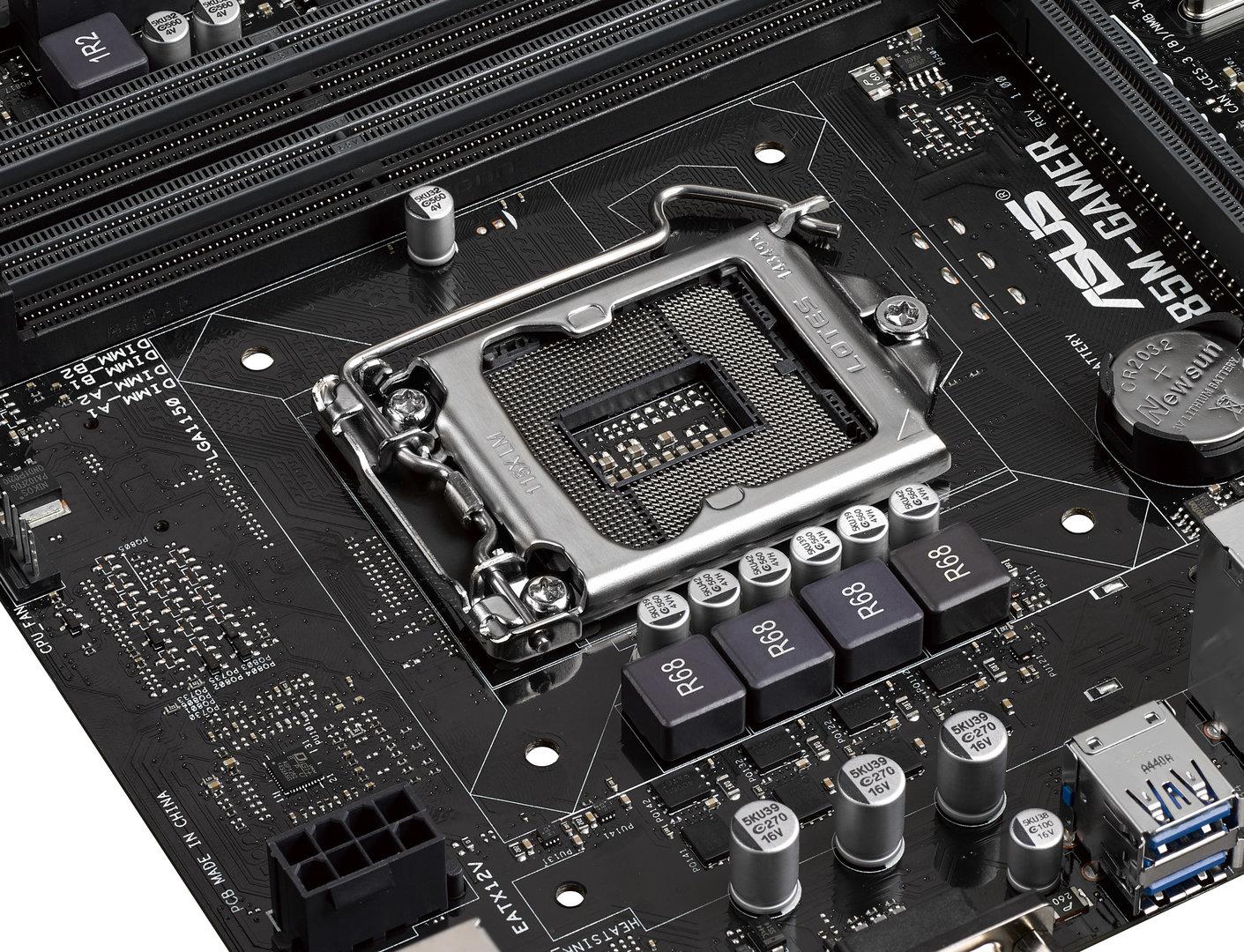 Asus B85M-Gamer – CPU-Sockel mit Spannungsversorgung