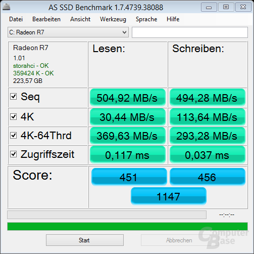 Radeon R7 SSD nach Update (Firmware 1.01)
