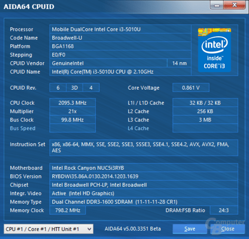 Intel Core i3-5010U im NUC in Windows 8.1