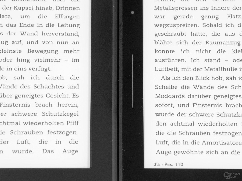 Schriftvergleich Kindle Paperwhite 2 (links) vs. Kindle Voyage (rechts)