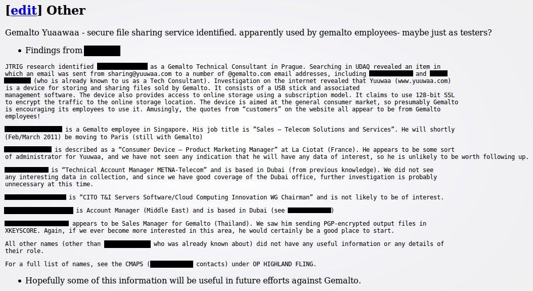 Informationen über Gemalto-Mitarbeiter