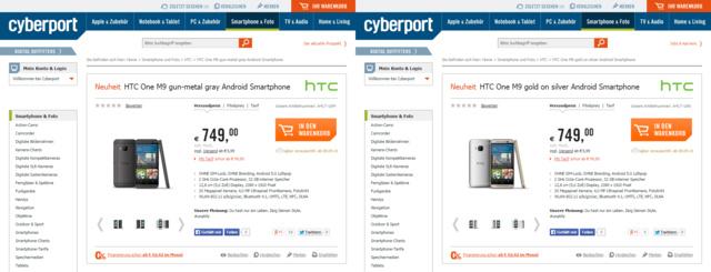 Shop-Einträge des HTC One M9 von Cyberport