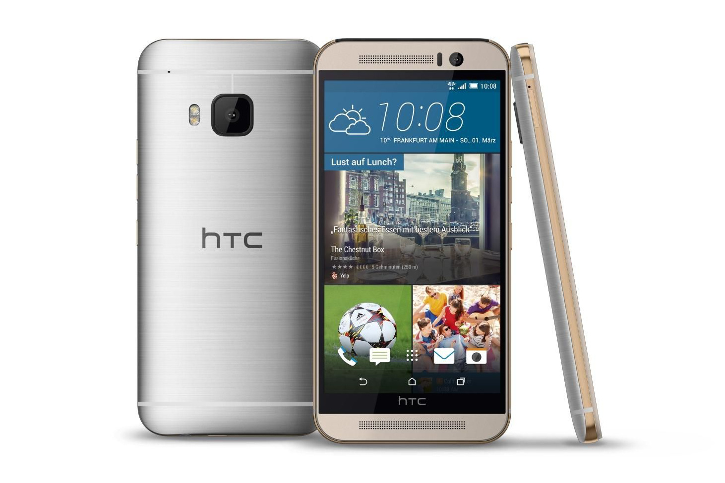 HTC One M9 gold on silver